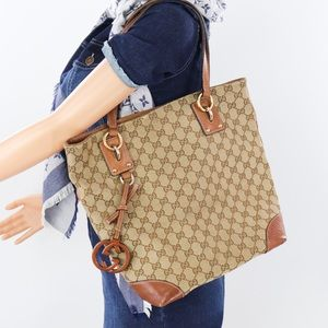 💎✨Authentic✨💎GUCCI  Jacquard Leather Tote Bag